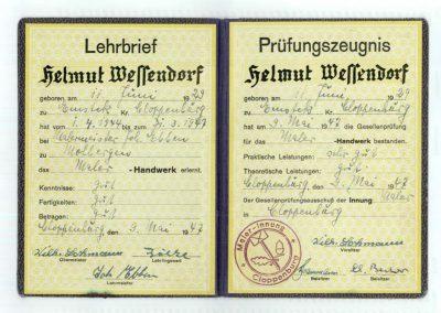 Prüfungszeugnis von Helmut Wessendorf 1947
