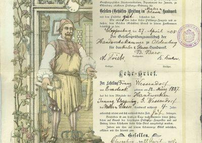 Prüfungszeugnis von Franz Wessendorf 1905